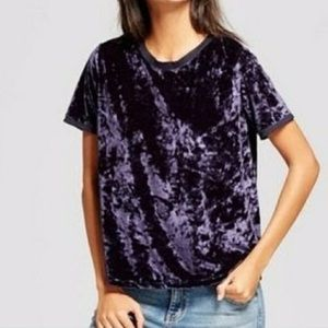 A New Day Crushed Velvet Blue T-shirt Size XSMALL